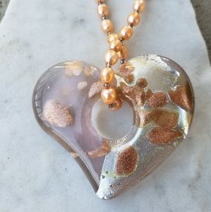 ♡ peach pearl strand {glass heart} necklace